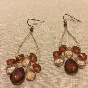 Gold and brown earrings